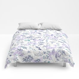 Botanical navy blue lilac watercolor summer floral Comforters