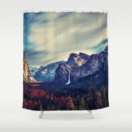 Yosemite Valley and Waterfall in Autumn Shower Curtain