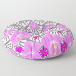 CERISE PINK ORCHID FLOWERS GREY DECO PATTERN ABSTRACT ART Floor Pillow
