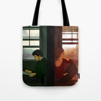 enjolras Tote Bags featuring Enjolras & Grantaire by rdjpwns