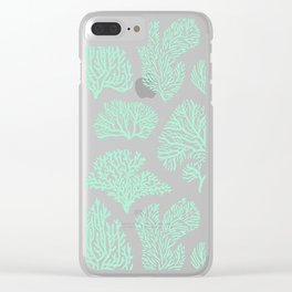 White corals on mint Clear iPhone Case
