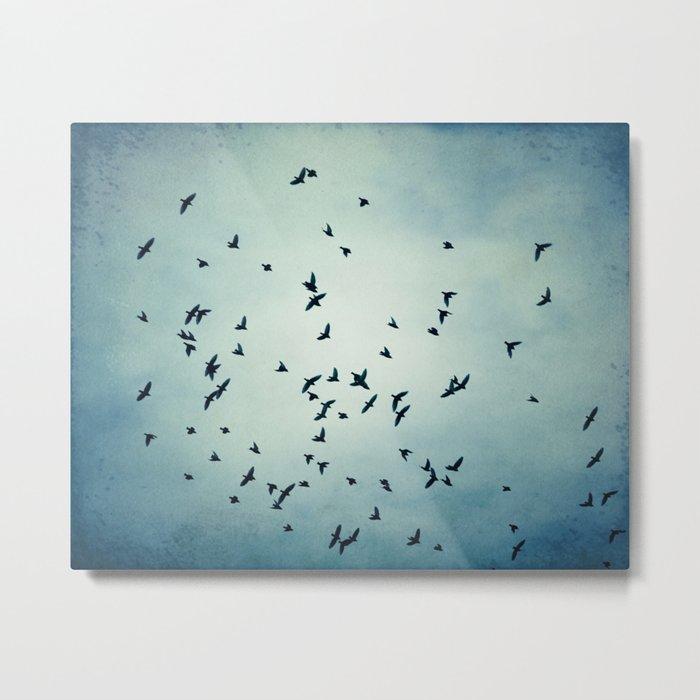 Birds Flying in Sky, Blue Nature Photography, Bird Flock Fly Dark Blue Metal Print