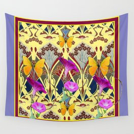 Decorative Cream Color & Fuchsia Morning Glories Floral Yellow Butterflies Wall Tapestry