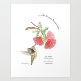 Cool greens and red-hot reds of the Baja Fairyduster Art Print