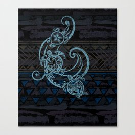 Hawaiian Teal Tribal Turtles Canvas Print