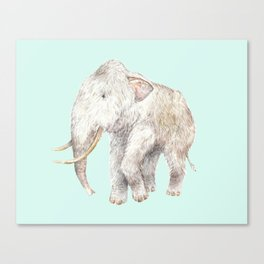 Woolly Mammoth Watercolor Mastodon Painting Canvas Print