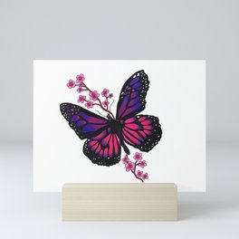 butterfly with blossom Mini Art Print