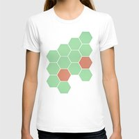 honeycomb T-shirts featuring Mint Honeycomb by Cassia Beck
