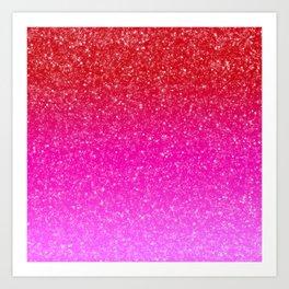 Red/Pink Glitter Gradient Art Print