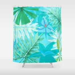 My blue abstract Aloha Tropical Flower Jungle Garden Shower Curtain