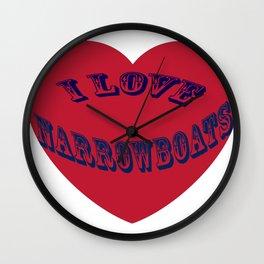 I love narrowboats heart Wall Clock