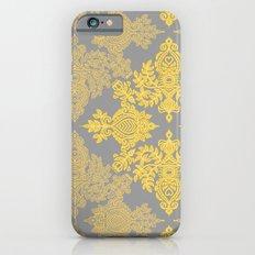 Golden Folk - doodle pattern in yellow & grey iPhone 6 Slim Case
