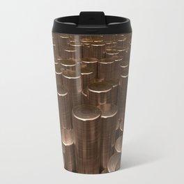 Pattern of brushed copper cylinders Travel Mug