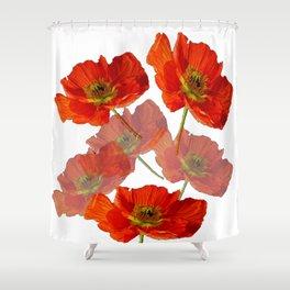DECORATIVE RED & PINK GARDEN FLORALS Shower Curtain