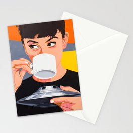 Lovely girl drink coffee from the UFO - retro movies poster illustration Stationery Cards