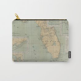 Vintage Lighthouse Map of Florida (1898) Carry-All Pouch