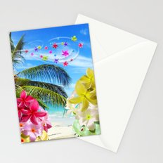 Tropical Beach and Exotic Plumeria Flowers Stationery Cards