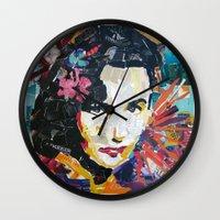 jenny liz rome Wall Clocks featuring Liz by Phil Fung