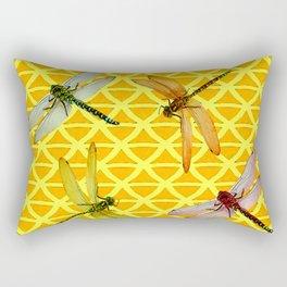 DRAGONFLIES PATTERNED YELLOW-BROWN ORIENTAL SCREEN Rectangular Pillow