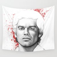 dexter Wall Tapestries featuring Dexter Morgan Portrait, Blood Splatters by Olechka