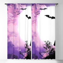 Creepy Halloween Haunted Castle With Bats At Full Moon Ultra HD Blackout Curtain
