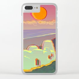 Red Moon Summer Vibrations Clear iPhone Case