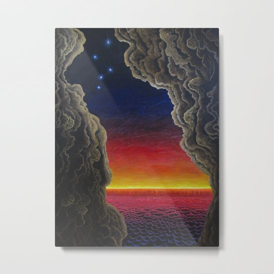 cave and sunset over the sea Metal Print