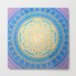 Flower of life mandala on canvas Metal Print