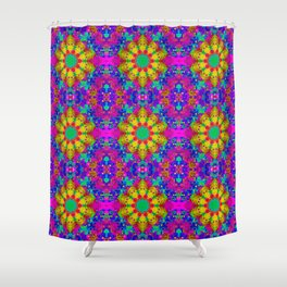 Pink Turquoise and Yellow Retro Pattern Shower Curtain