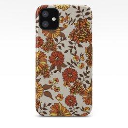 Retro 70s boho hippie orange flower power iPhone Case