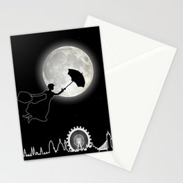 Magical Nanny Over London - neon light Stationery Cards
