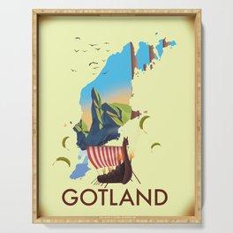 Gotland Viking map. Serving Tray