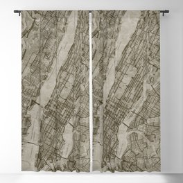 Warm Putty Beige Decor, Manhattan New York City, Antique Vintage Map Blackout Curtain