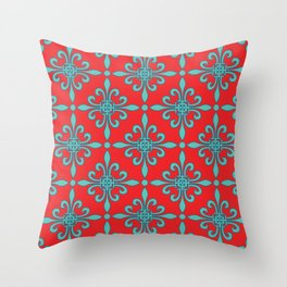 Fleur de Lis - Red & Turquoise Throw Pillow
