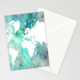 Design 62 World Map Turquoise Aqua Stationery Cards