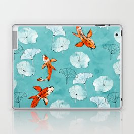 Waterlily koi in turquoise Laptop & iPad Skin