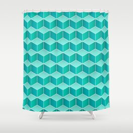 Ocean cubes, a symmetric pattern inspired by the sea. Shower Curtain