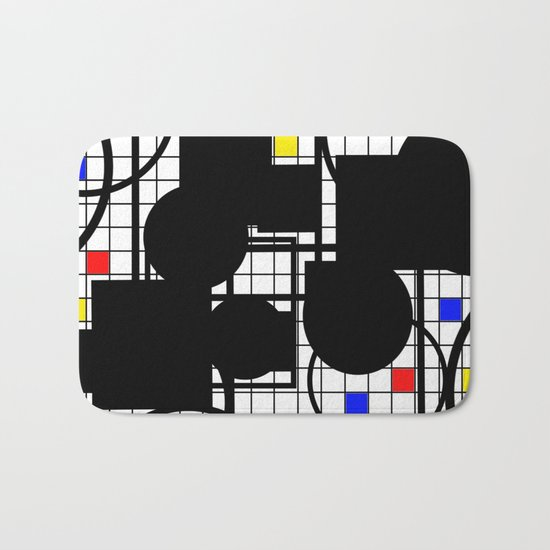 Colour Relationships - Black, white, red, yellow, blue, geometric abstract artwork Bath Mat