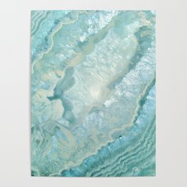 """Aquamarine Pastel and Teal Agate Crystal"" Poster"