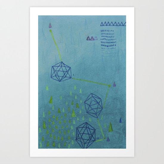 Icosahedron (Water) Art Print