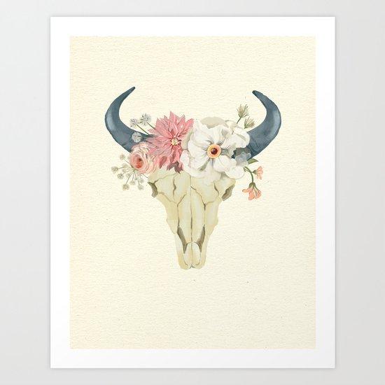 Bull skull floral tribal watercolor Art Print