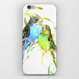 Budgies, love bird green blue decor iPhone Skin