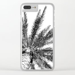 Black and White // Palm Tree Art Print Clear iPhone Case