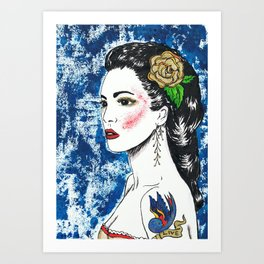 Lady With Swallow Tattoo Art Print