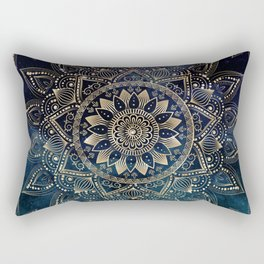Elegant Gold Mandala Blue Galaxy Design Rectangular Pillow
