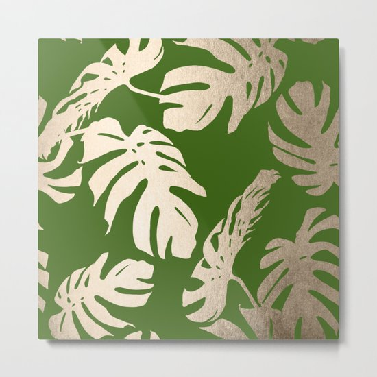 Palm Leaves White Gold Sands on Jungle Green Metal Print