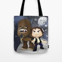 han solo Tote Bags featuring Han Solo & Chewbacca by 7pk2 online