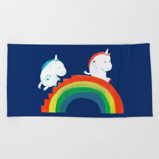 Unicorn on rainbow slide Beach Towel
