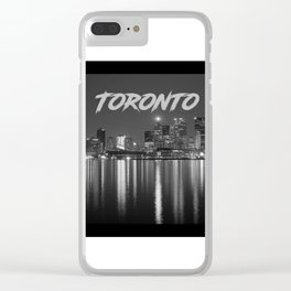 Toronto Canada Nighttime Skyline over Water Black and White Clear iPhone Case