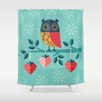 valentina Shower Curtains featuring OWL ALWAYS LOVE YOU by Daisy Beatrice